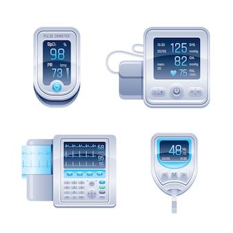 Ensemble de dispositifs médicaux. tonomètre, glucomètre - lecteur de glycémie, oxymètre de pouls, électrocardiographe ecg. collection d'équipement de soins de santé.