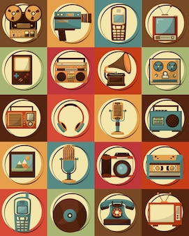 Ensemble de dispositifs vintage rétro design classique