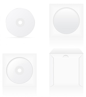 Ensemble de disque de cd vierge blanc et illustration vectorielle de couverture