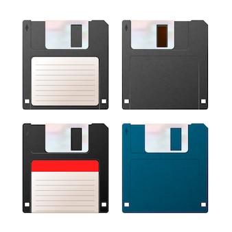 Ensemble de disquettes détaillées réalistes, objets vintage sur blanc