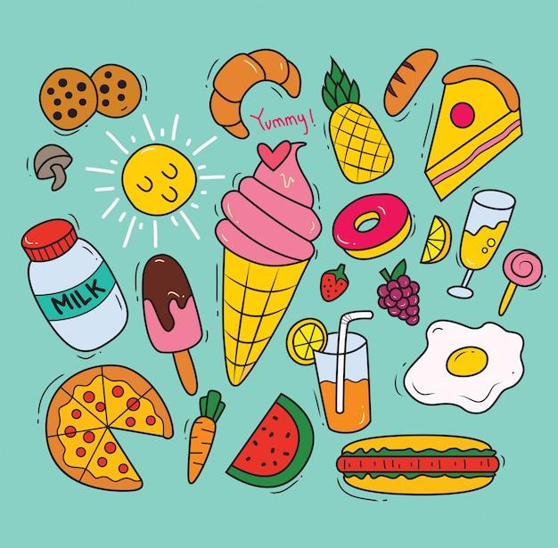 Ensemble de divers aliments dans le style de griffonnage