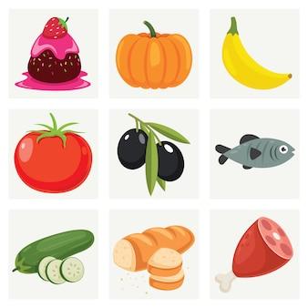 Ensemble de divers aliments frais