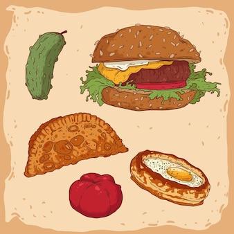 Ensemble de divers aliments isolés