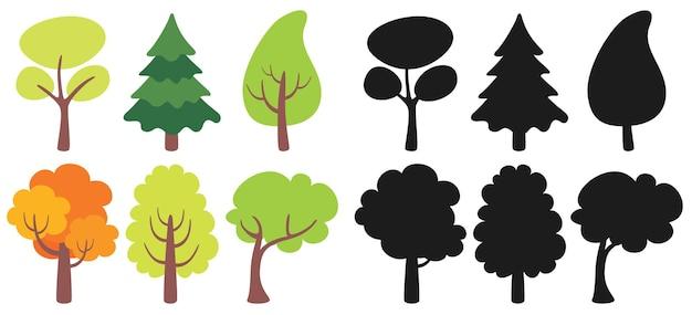 Ensemble de divers arbres plats