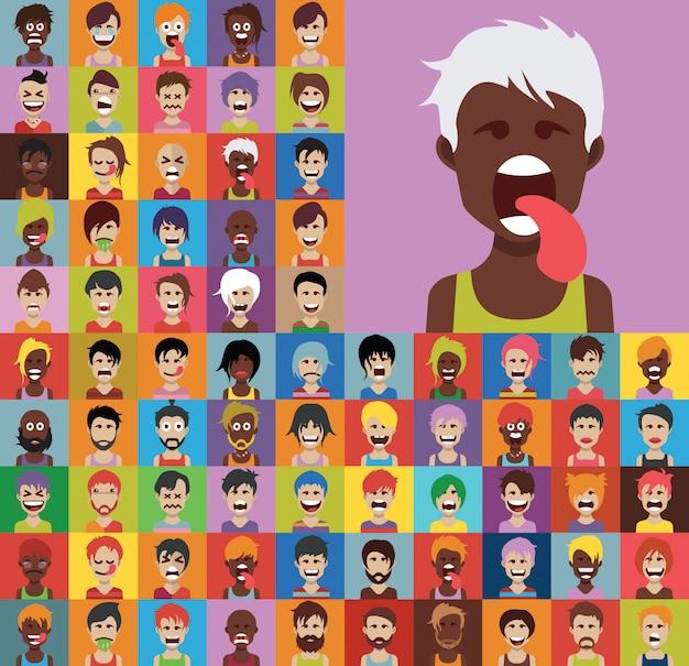 Ensemble de divers avatars masculins et féminins vecteur