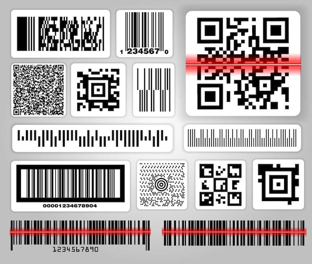 Ensemble de divers codes à barres ou ensemble de codes à barres d'étiquettes d'emballage ou de codes qr