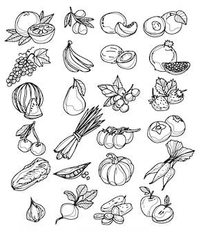 Ensemble de divers croquis de légumes dessinés à la main, isolé sur blanc