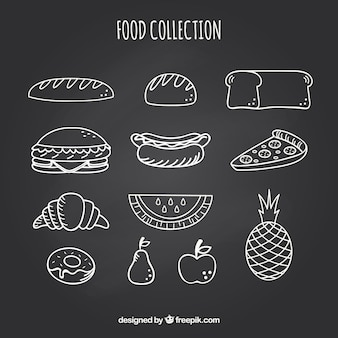 Ensemble de divers éléments de nourriture dans le style de tableau