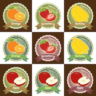 Ensemble de divers fruits frais prime qualité tag design étiquette badge