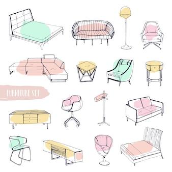 Ensemble de divers meubles. différents types de canapés, chaises et fauteuils dessinés à la main, tables de chevet, lits, tables, collection de lampes. illustration de croquis de vecteur coloré.