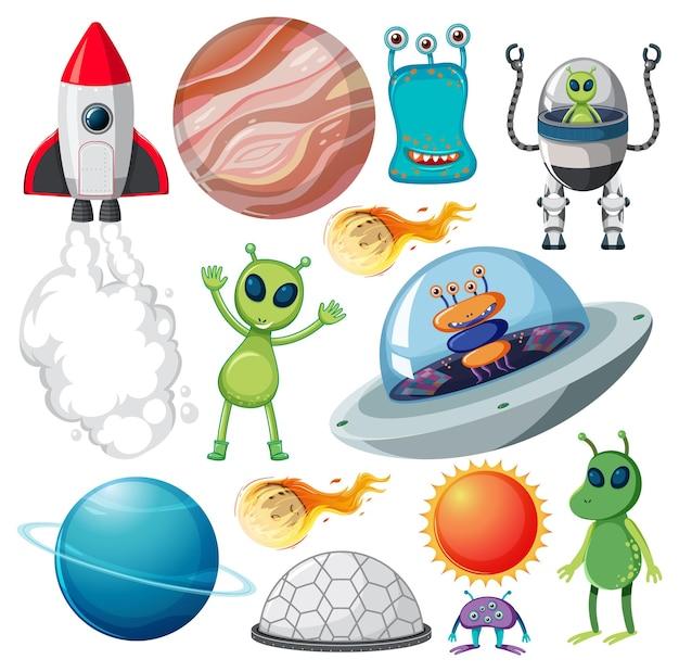 Ensemble de divers objets spatiaux sur fond blanc