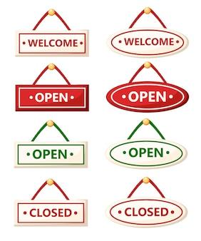 Ensemble de divers signes. panneaux ouverts et fermés. . illustration sur fond blanc. page du site web et application mobile.