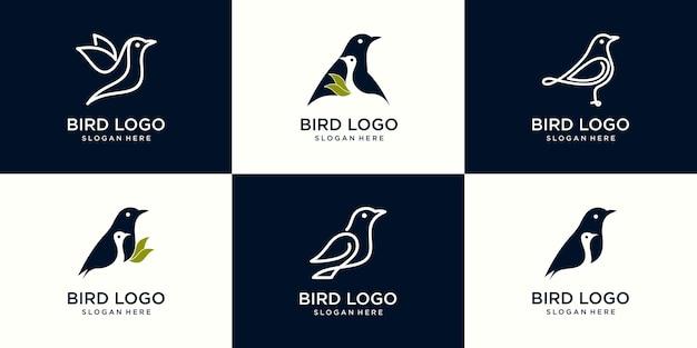 Ensemble de divers symboles d'oiseaux et éléments de conception de logo