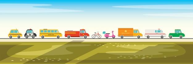 Ensemble de divers véhicules de dessin animé