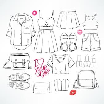 Ensemble avec divers vêtements et accessoires d'été pour femmes