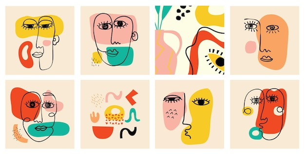 Ensemble de divers visages, formes et objets de griffonnage dessinés à la main. illustration vectorielle moderne et moderne abstraite.