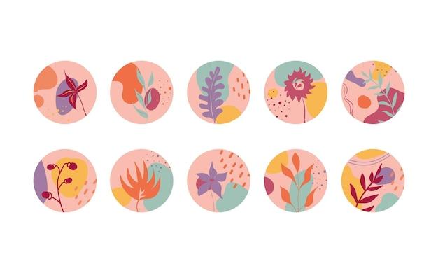 Ensemble de diverses couvertures de surbrillance vectorielles arrière-plans abstraits diverses formes lignes points points