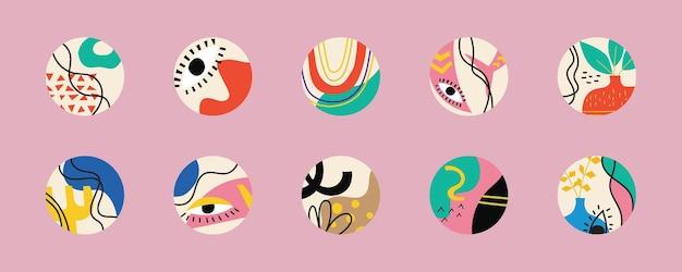 Ensemble de diverses couvertures de surbrillance vectorielles dessinées à la main, illustration vectorielle moderne et moderne abstraite.