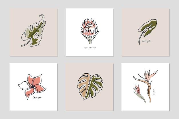 Ensemble de diverses fleurs linéaires, feuilles de monstera et autres feuilles.