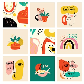 Ensemble de diverses formes de visages dessinés à la main et d'objets de griffonnage abstraits illust...