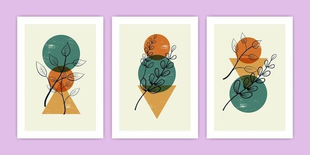 Ensemble de diverses illustration d'art de ligne de feuille abstraite