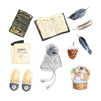 Ensemble de diverses illustration de collection maison hiver isolé.