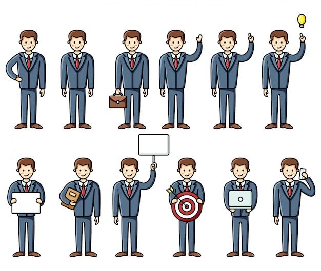 Ensemble de diverses poses éléments d'infographie homme d'affaires style plat