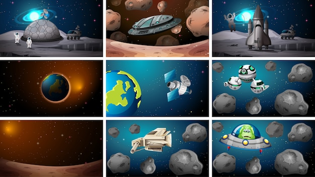 Ensemble de diverses scènes de l'espace