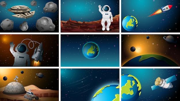 Ensemble de diverses scènes spatiales