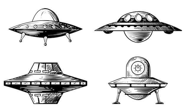 Ensemble de diverses soucoupes volantes. illustrations dessinées à la main.