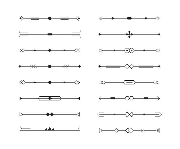 Ensemble de diviseurs de collection de lignes géométriques, style minimal.