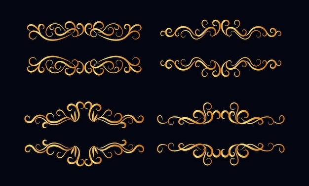 Ensemble de diviseurs dorés calligraphiques