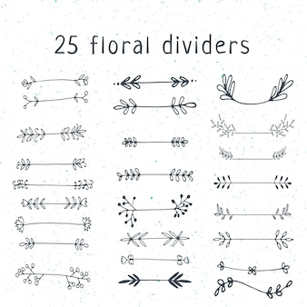 Ensemble de diviseurs floraux doodle