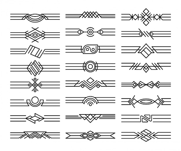 Ensemble de diviseurs de frontières. vignettes noires décoratives. éléments de conception calligraphiques et décoration de page