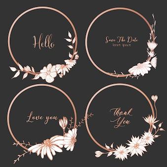Ensemble de diviseurs ronds cadres, fleurs dessinées à la main.