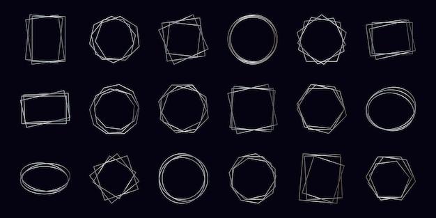Ensemble de dix-huit cadres polygonaux géométriques argentés avec des effets brillants isolés sur fond sombre. toile de fond art déco rougeoyante vide. illustration vectorielle.