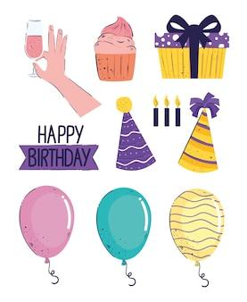 Ensemble de dix lettrages et icônes de joyeux anniversaire illustration