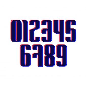 Ensemble de dix nombres de zéro à neuf avec effet glitch