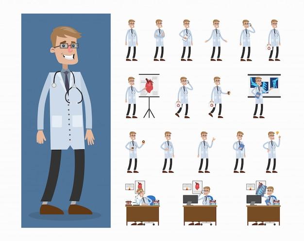 Ensemble de docteur homme. poses et déménagements, présentations et traitements.