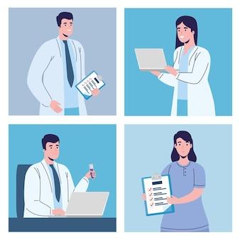 Ensemble de docteur masculin et féminin