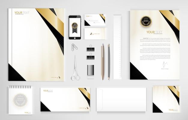 Ensemble de documents de bureau pour les entreprises inclure ordinateur portable tablette smartphone stylo crayons trombone
