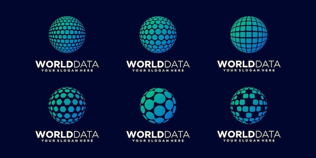 Ensemble de données de planète abstraite logo design vecteur modèle.