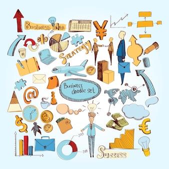 Ensemble de doodle affaires