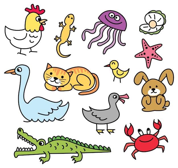 Ensemble de doodle animal dessin animé