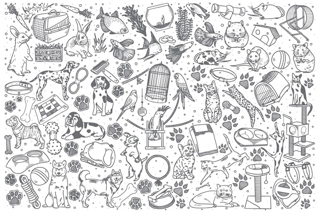 Ensemble de doodle animaux dessinés à la main