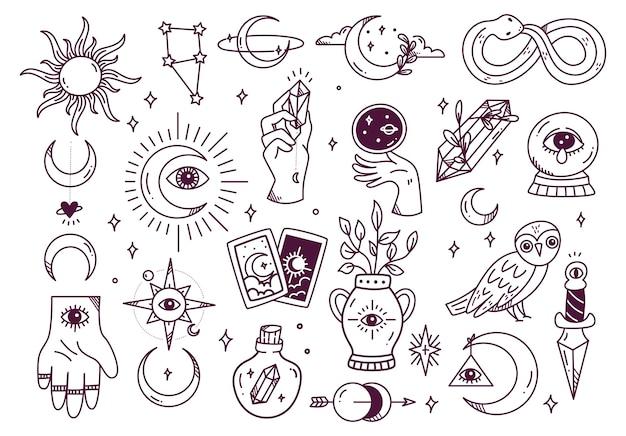 Ensemble de doodle astronomie mystique