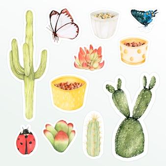 Ensemble de doodle autocollant aquarelle botanique