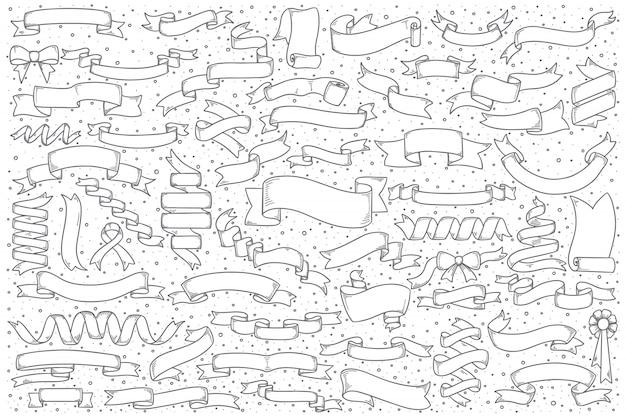Ensemble de doodle de bannières de ruban