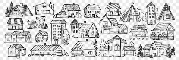 Ensemble de doodle de bâtiments dessinés à la main.