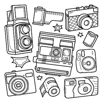 Ensemble de doodle de caméras dessinées à la main